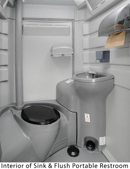 Interior of Sink & Flush Portable Restroom